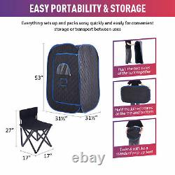 1000W Steam Sauna Kit w Popup Tent Chair & Remote Control Home Detox Relaxation