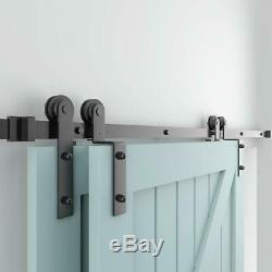 10FT Single Track Bypass Sliding Barn Door Hardware Kit For 2 Doors Easy Install