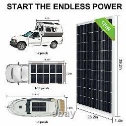 120W Solar Panel Battery System Kit Easy Install Power Energy Supply Eco Worthy