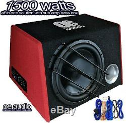 12inch Active Amplified subwoofer Bass box 1500watts Easy install+ WIRING KIT