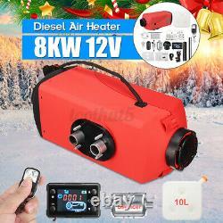 16PCS Set 12V 8KW Diesel Air Heater LCD Thermostat Kit 10L Tank For Trucks Boat