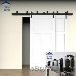 4-18FT New Bypass Sliding Barn Door Hardware Double Track Kit Easy Install Black