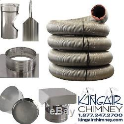 5.5 x 20 CHIMNEY TEE LINER KIT STAINLESS STEEL FIREPLACE EASY INSTALL NEW