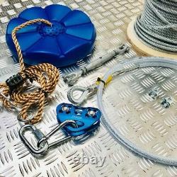 50 M Heavy Duty Garden Zip Wire Kit Zipline Garden Wire Rope Swing Easy Install