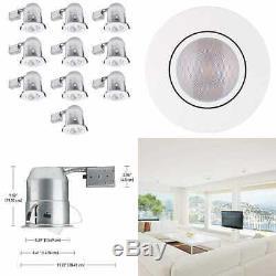 6 Swivel Round Trim Recessed Lighting Kit 10 Pack WHITE Easy Install Push N Cli