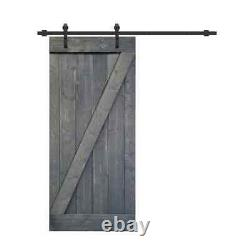 CALHOME Barn Door Kit 30 in. X 84 in. Reversible Easy Install Solid Core Gray