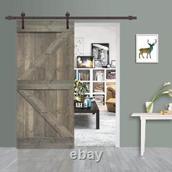 CALHOME Barn Door Kit 42 in. X 84 in. 2-Panel Reversible Easy Install Wood Gray