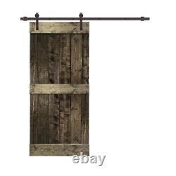 CALHOME Mid-Bar Sliding Barn Door Kit 42 in. W x 84 in. H Easy Install Espresso