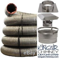 Chimney INSERT liner kit 5x25 STAINLESS STEEL with Cap EASY INSTALL Lifetime Wrnty