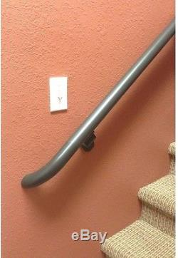 DIY Easy Install 8 ft Bronze Aluminum Round Hand Rail Kit Safety Rod Bar Long