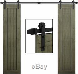 EaseLife 8 FT Double Door Sliding Barn Door Hardware Track Kit HD Easy Install