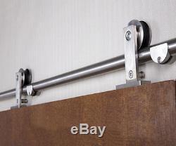 Easy install stainless steel top mount barn door hardware sliding barn track kit
