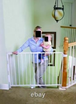 Extra Tall Top Of Stairs Gate with Mounting Kit White 34-55 wide x 35 tall Safe