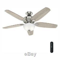 Hunter 54 Ceiling Fan LED Light Kit Remote Indoor Easy Install Brushed Nickel