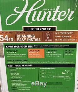 Hunter Ceiling Fan 54 Channing #53366 With Light Kit Barnwood Easy Install #13