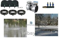 Large POND Aeration Kit 1-4 Acres 300' SINK Tube Diffusers NEW PUMP 2yr Warranty