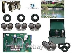 NEW 1/2hp Large Lake Pond Aeration Kit-3 Diffuser 300' Sink Tube +Cabinet 1+acre