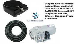 NEW 12v Thomas SOLAR POND AERATION Kit OFF Grid Aerator 2yr Warranty 100' Hose
