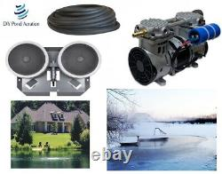 Pro Deep Water Subsurface Aeration KIT with 3.9cfm PUMP 200' SINK TUBE 2-Diffusers