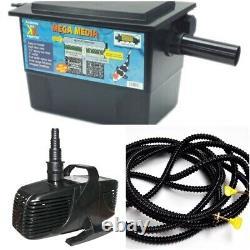 Pump, Hose & Filter Kit, for 2000 Gallon Water Garden Pond, Combo Pond Kit