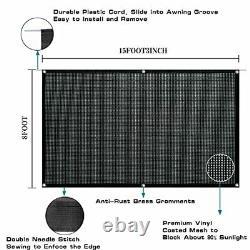 RV Awning Shade Screen Easy to Install Mesh Sun Shade Kits UV 8' x 15'3 Black