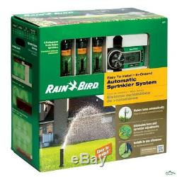 Rain Bird Automatic Underground Yard Lawn Sprinkler System Kit Easy Installation