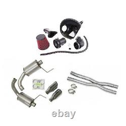 Roush Exhaust Muffler, Resonator X-Pipe & Cold Air Intake Kit for Mustang GT 5L
