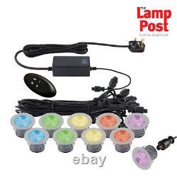 Saxby 59138 Ikon Pro 45mm Round Steel IP67 RGB Decking Kit Garden LED Lights Kit