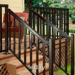 Stair Hand Base Rail Kit 6 ft. Aluminum Easy-to-Install Water Resistant Black