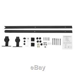 Top Mounted Black Sliding Barn Door Hardware Easy Install Wooden Doors Track Kit