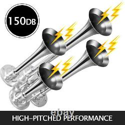 Train Horns Kit 4 Trumpets 150DB 10L 200PSI 12V For Car Truck Train Van