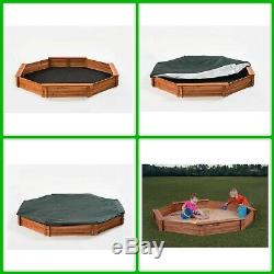 Wood Sandbox Kit With Cover, Seats & Liner Cedar Octagon Outdoor Easy Install NEW