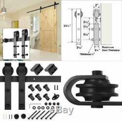 Wooden Sliding Barn Door Hardware Kit J Shape Hangers Steel Easy Install 8 Ft